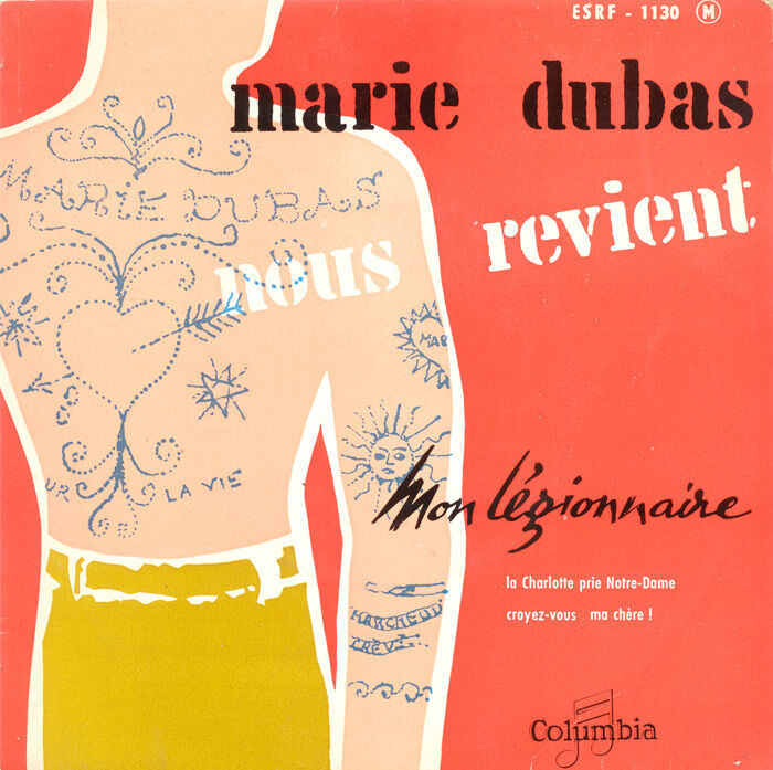 Pochette du 45 tours Mon Légionnaire de Marie Dubas.