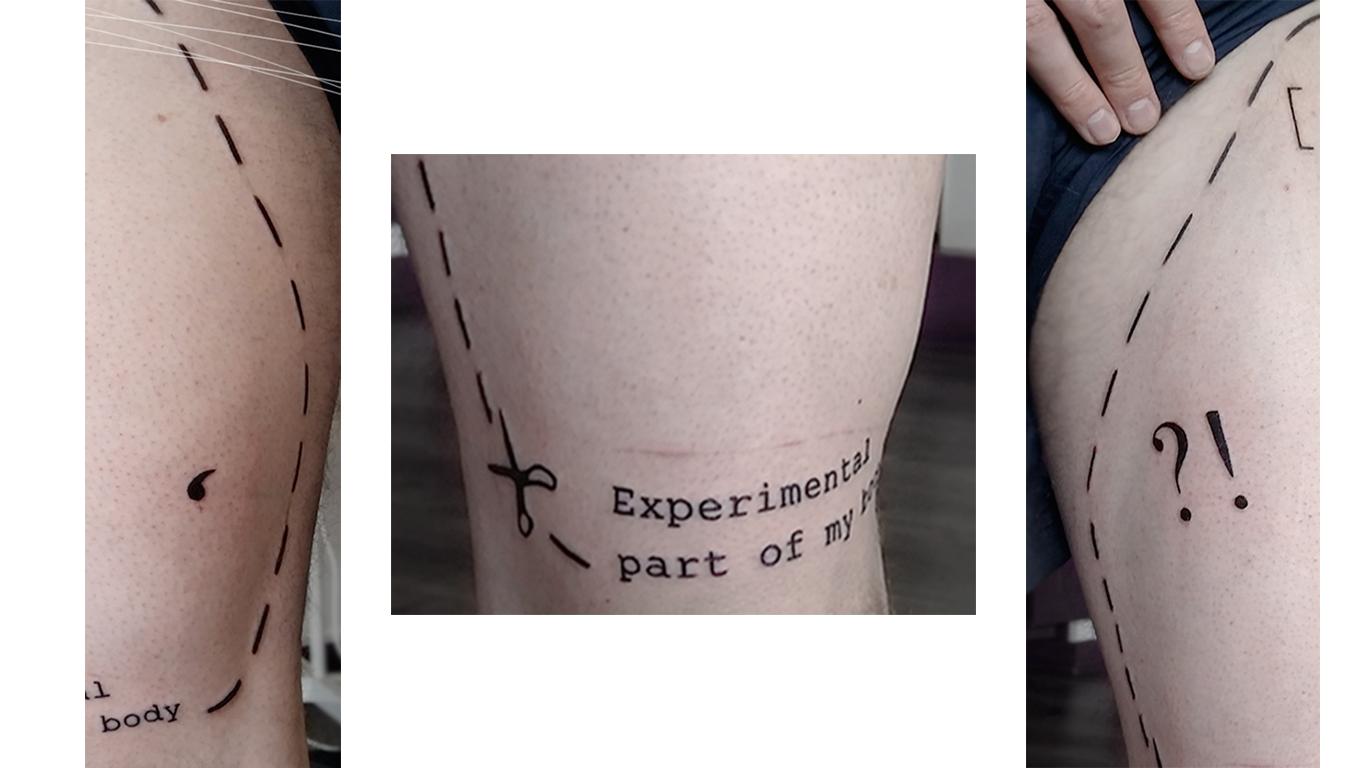 Yoann Sarrat - Experimental Part Of MY Body, trois tatouages sur des jambes
